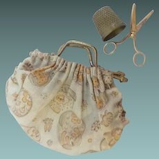 """Antique Miniature 2""""  Bag Purse with 1"""" Scissors and  3/8"""" Brass Thimble"""