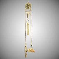Antique Gilt Brass Jeweled Chatelaine with Belt Clip, Wax Seal, Knife and Jeweled Perfume Holder