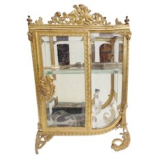 19C  French Miniature Curio Vitrine ~ RARE  Shape Gorgeous Gilt Ormolu  ~  All Original Beveled Glass ~ All This Beauty Need is a Collection of Tiny Treasures!