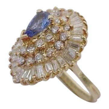 MAGNIFICENT  Ballerina Cluster Diamond and Pear Shape Sapphire