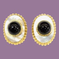 14KARAT Yellow Gold, Mother of Pearl , Black Onyx Earring ~ EXQUISITE, Elegant, and  Superior  Quality