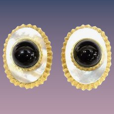 14KARAT Yellow Gold, Mother of Pearl , Black Onyx Earring. ~ EXQUISITE, Elegant, and  Superior  Quality