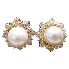 EXQUISITE Cultured Pearls and Diamond Earrings ~ VERY FINE QUALITY