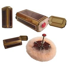 Antique French Jeweled Makeup Hinged Box with  Pink Ostrich  Feather Umbrella Brush Puff ~ That Folds to Fit Inside ~ It is Adorable!  ~ A REAL GEM BOX