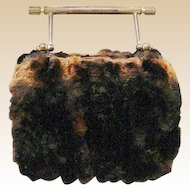 Antique Miniature French Fur Purse ~ Adorable Heavy Gilt Bronze Handle and Pale Green Silk Lining
