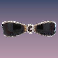 "Estate Vintage  Platinum Black Onyx & Diamond Bow Brooch ""MAGNIFICENT"""