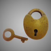"Antique Tiny Brass Lock and Key  ""HEART SHAPE"""