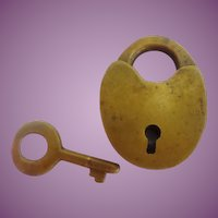 "Antique Tiny Brass Lock and Key  ""HEART SHAPE"""