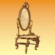Exquisite Antique French Miniature Bronze Onyx Dresser Vanity  ~ Superior Quality