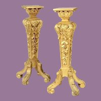 Magnificent 19C French Carved Gilt Wood Pedestals Stands