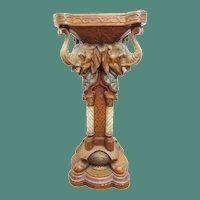 "35"" Antique German  Cold Painted Terracotta Elephant Pedestal ~ Signed Uriela Cologne Germany"