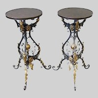 Stunning Iron and Brass Renaissance Style Pedestal Tables   ~ A  Glorious PAIR