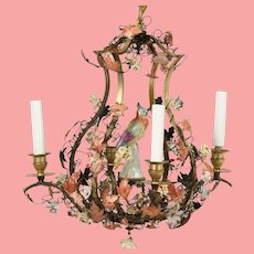 Antique Polychrome Polished Metal Porcelain  Chandelier  ~ Exquisite Porcelain Flowers and Porcelain Bird