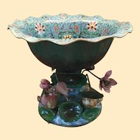 "Antique 20 ½"" Cloisonné   Center Bowl with Flowers, Leaves, and Birds ~ HUGH  Extraordinary  Cloisonne Masterpiece"