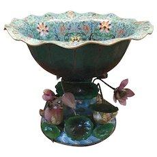 "Antique 20 ½"" Cloisonné   Center Bowl with Flowers, Leaves, and Birds ~ HUGH  Extraordinary  Cloisonne Masterpiece"