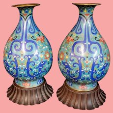 Antique Cloisonné Urns wCarved Wood Plateau ~ A Delightful Pair