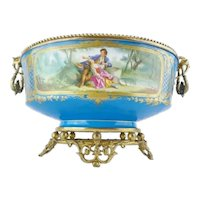 "MASTERPIECE  19 ½"" 19C  Porcelain Center Bowl   ~  Flowers and Awesome Gilding. wExtraordinary Footed Base."