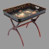 Pretty  Painted Tray w Big Gorgeous Flowers ~  Resting in a Folding Wood  Stand