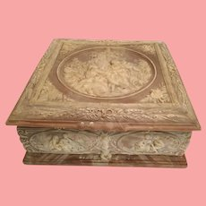 Massive Vintage Incolay Stone Casket Hinged Box~