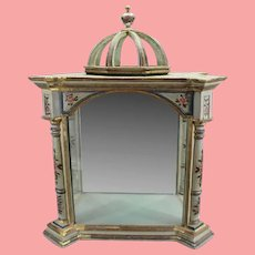 Antique Italian Polychromed Mirrored Vitrine Display Cabinet ~ Absolutely a Wonderful Painted Vitrine and Absolutely Charming!