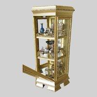 """Vintage Vitrine Six Sided Gilt Wood Vitrine Curio Display Case """"miniature Doll Treasures"""""""