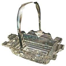 Charming Antique Engraved Silver Handle Cut Glass Basket Centerpiece