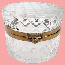 Round Crystal Casket Hinged Box  ~ Wide Smooth Metal Mounts and Fancy Clasp