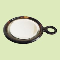 Lovely Antique Faux Tortoise Hand Mirror  ~ Original Beveled Mirror