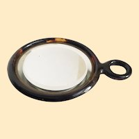Lovely Antique Faux Tortoise Hand Mirror  ~ Original Beveled Mirror