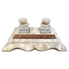 Antique Mother of Pearl Double Inkwell ~ Two Cut Glass Inkwells wi Gilt Mounts Tops ~ Big and BEAUTIFUL