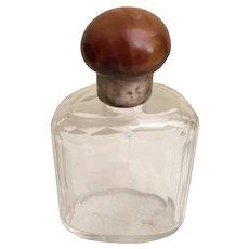 Antique Faux Tortoise Top Cut Crystal Bottle w Silver Collar ~  A BEAUTY!