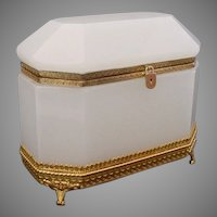 "Antique French White Opaline Dome Top Casket Hinged Box "" MAGNIFICENT"""