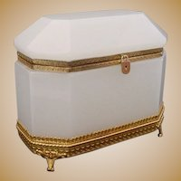 """Antique French White Opaline Dome Top Casket Hinged Box """" MAGNIFICENT"""""""