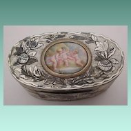 "Glorious Antique French Mother of Pearl Box "" Enamel Putti Plaque"""