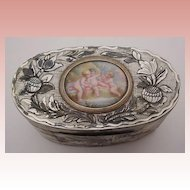 "Glorious Antique French Mother of Pearl Box "" Enamel Putti Plaque""~Hand Carved Mother of Pearl with Silver and Gold ~  Exquisite Enamel  Putti Plaque."