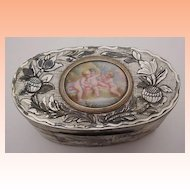 """Glorious Antique French Mother of Pearl Box """" Enamel Putti Plaque"""""""