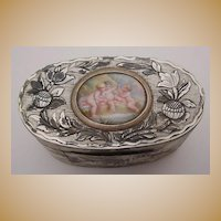"""Glorious Antique French Mother of Pearl Box """" Enamel Putti Plaque""""~Hand Carved Mother of Pearl with Silver and Gold ~  Exquisite Enamel  Putti Plaque."""