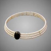 Beautiful Fresh Water Cultured Pearl and Onyx Choker