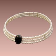 Beautiful Fresh Water Cultured Pearl and Onyx Choker