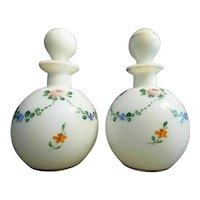 PAIR  Czechoslovakia Hand Painted Scent Perfume Bottles  ~ .White Glass Czechoslovakia Bottles w Original Stoppers.