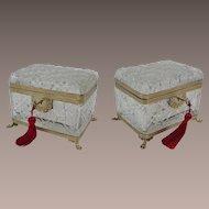 "8"" Antique French Cut Crystal Casket Hinged Box "" Paw Feet"""