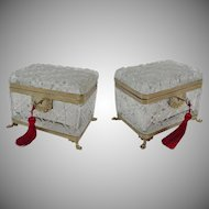 "8"" Antique French Cut Crystal Casket Hinged Box "" Paw Feet"""