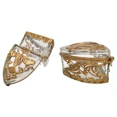 Magnificent French Crystal RARE Shape Casket Hinged Box ~ Absolutely Beautiful and Gorgeous Gilt Ormolu Covers Box