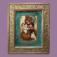 Beautiful Framed 19C Hand Painted Porcelain Plaque of Five Children in a Wicker Basket ~ Signed  ~ A MASTERPIECE!