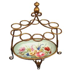 Palais Royal  Porcelain Hand painted  Gilt Ormolu Cigar Holder /Tidy for a Desk or Vanity ~ Beautiful Painted Flower Porcelain ~ Delightful