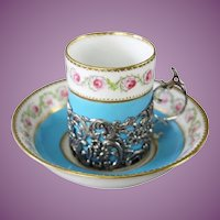 """Magnificent Antique French Mechun C. P. & Co. Porcelain Dessert Service ~ Six Hand painted 6"""" Plate are Circled in Gilt Silver ~ Flora Swags and  Bows"""