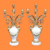 """Magnificent  Bronze & Marble Candelabrum ~ Beautiful Gilt Bronze, 4 Arms, """"Ram's Head"""" Handles, """"Floral"""" Swag  Decoration  and Luscious White Marble Urns ~ A Marvelous  PAIR"""