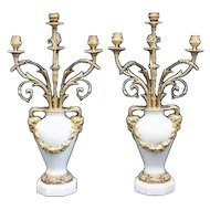 "Magnificent  Bronze & Marble Candelabrum ~ Beautiful Gilt Bronze, 4 Arms, ""Ram's Head"" Handles, ""Floral"" Swag  Decoration  and Luscious White Marble Urns ~ A Marvelous  PAIR"