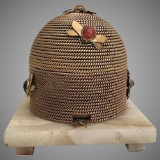 "1860 French Dore"" Bronze Beehive Casket ~ Scarab Agate Bees ~ Onyx Footed Base ~ 8 Pounds of BEAUTY"