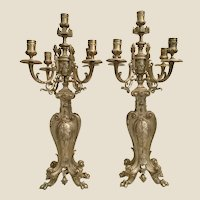 "Antique French Bronze  Five Light Candelabras   ""PAIR"""